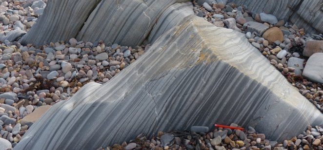 Metalimestone of Fordyce Limestone Formation (Appin Group), Sandend Bay